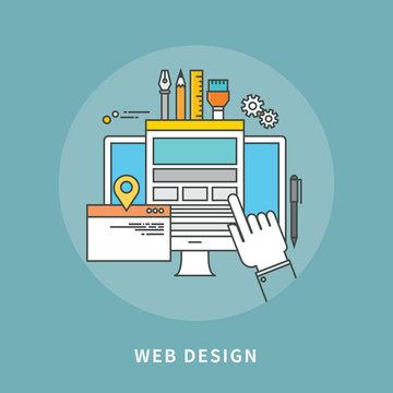 circle color line flat design of web design, modern vector illustration