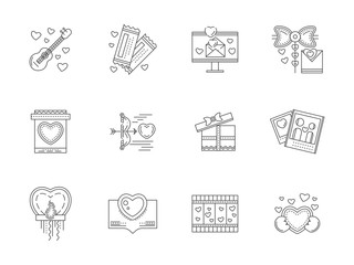 Set of love events line icons
