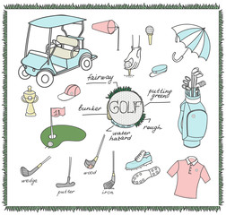 Collection of various stylized hand drawn Golf icons, Golf Equipment vector illustration, golf clubs, golf course background, doodle elements, golf cart, clubs, clothes and shoes sketch