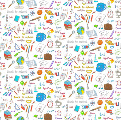 Seamless background freehand drawing school items, Back to School. Hand drawing set of school supplies sketchy doodles vector illustration, science, physics, calculus