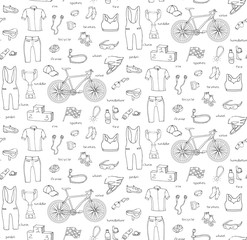 Seamless background bicycle equipment hand drawn set doodle vector illustration of various stylized bicycle icons bicycling equipment and accessories bicycling gear cycling cloth