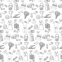Tennis set background, hand drawn vector illustration of various stylized tennis icons, tennis equipment, tennis icons sketch, seamless background