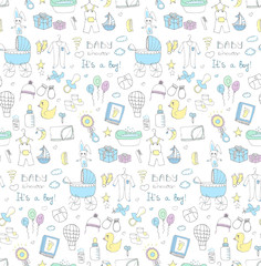 Seamless background of baby shower vector illustration icons, hand drawn baby care elements, it's a baby boy design icons children's boy clothing, toy, bib, nappy, carriage, socks, bottle, baby foot