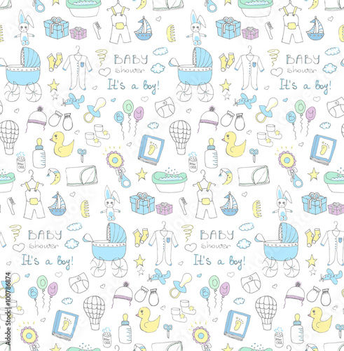 38277b2ac Seamless background of baby shower vector illustration icons, hand drawn  baby care elements, it's a baby boy design icons children's boy clothing,  toy, bib, ...