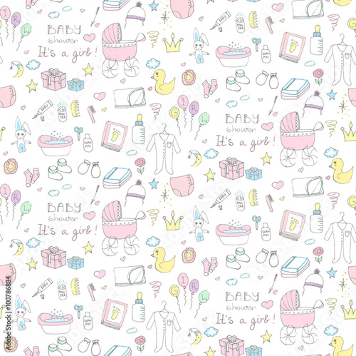 Seamless Background Of Baby Shower Vector Illustration Icons Hand