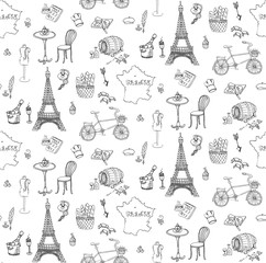 Seamless background, set of hand drawn French icons, Paris sketch illustration, doodle elements, Isolated national elements made in vector. Travel to France icons, Paris symbols collection