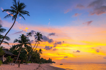 Perfect sunset on  Bang Po beach . Samui Island. Thailand.