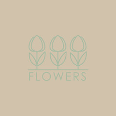 Flower Shop Icon and Lettering Set