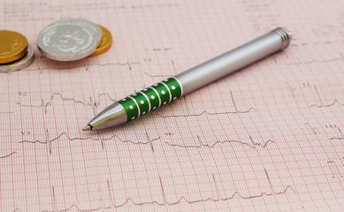 pen and ecg graph, electrocardiogram ekg background