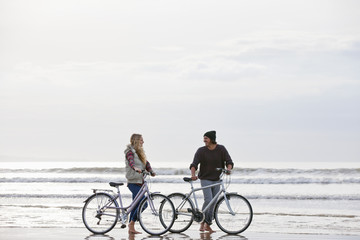 Couple with bicycles talking on beach