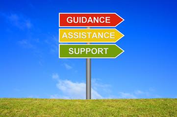Schild Wegweiser zeigt Guidance Assistance Support
