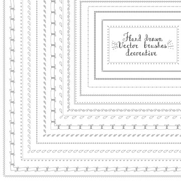 Set of hand drawn decorative vector brushes with inner and outer corner tiles. Dividers, borders, ornaments. Sketch, decoration doodle elements