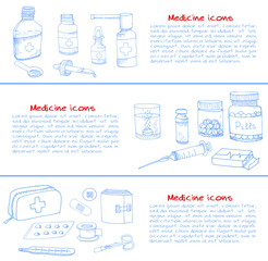 Set of health care and medicine hand drawn icons, doodle medical elements, vector background with wellness freehand drawings. Vector sketch illustration