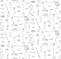 Seamless background of hand drawn vector cleaning service icons, Cleaning symbols, tools, Detergent, iron, mop, washing liquid, vacuum cleaner, doodle icons, sketch