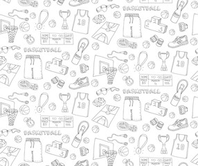 Seamless background of hand drawn doodle basketball set. Vector illustration. Sketchy sport related icons, basketball elements, ball, hoop, net, basket, sport wear, sport shoes