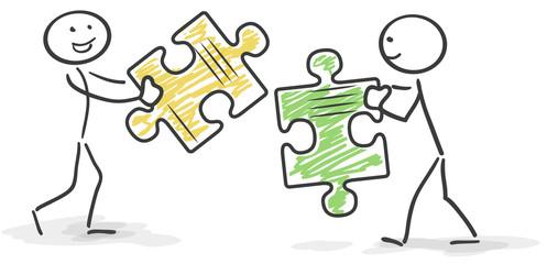 Strichmännchen Puzzle - Teamwork