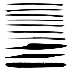 Vector collection or set of black paint hand made creative brush strokes