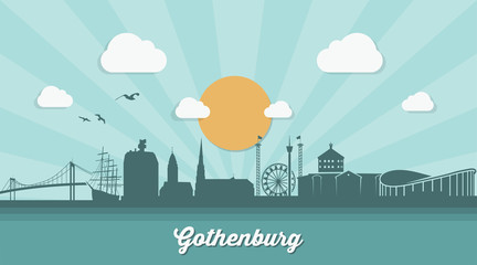 Gothenburg skyline - flat design