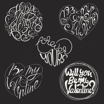 Set of 5 Valentines Day card design.