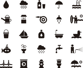 WATER RELATED black icons pack