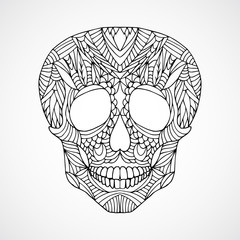 Hand drawn doodle swirled human skull