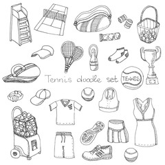 Tennis hand drawn set, doodle vector illustration of various stylized tennis icons, tennis icons sketch, tennis equipment, racket, ball, dress, shoes, tennis court, green grass