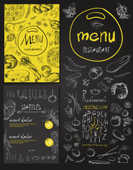 Restaurant Food Menu set Vintage Design with Chalkboard
