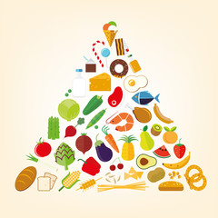 Food pyramid flat design illustration. Healthy Nutrition Concept.