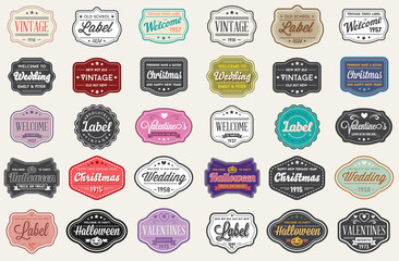 Vector Set of Vintage Retro Styled Premium Design Labels