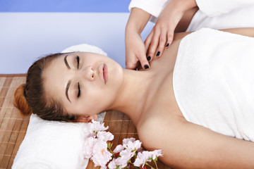 Woman having massage of body in the spa salon. Beauty treatment