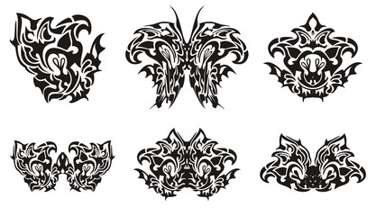 Black butterfly wing and decorative symbols from it. Flaming twirled butterfly wing, tribal butterfly and floral symbols from it