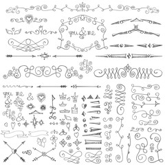 Doodle border,arrows,decor element kit