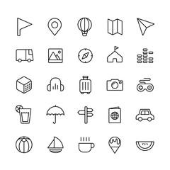 travel and joy icon set