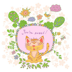 Stylish cartoon card made of cute flowers, doodled tiger, trees,