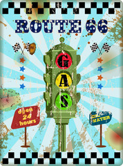 grungy retro route sixty six gas station sign, vector illustrati