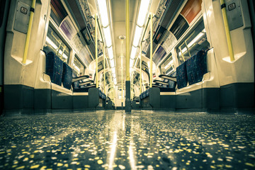 Empty London underground subway train with vintage tone effect