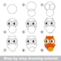 Drawing tutorial. How to draw a Cute Owl