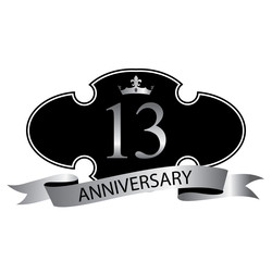 13 anniversary with silver ribbon and crown