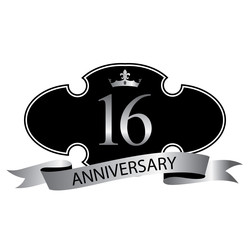 16 anniversary with silver ribbon and crown