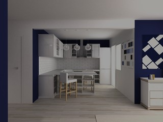 White and blue modern kitchen in large flat studio