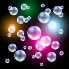 colored soap bubbles on a black background Vector illustration
