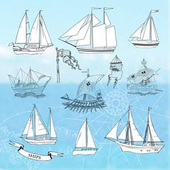 Ships.Set of sketches