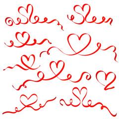 Red ribbon hearts set