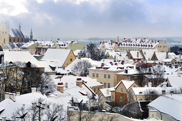 Old town in Tallinn during a gray winter day - Estonia