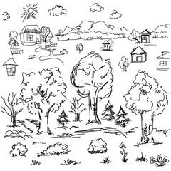 Elements of landscape in outline. Doodle sketch outdoor elements
