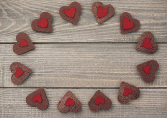 Sweet cookies with red heart