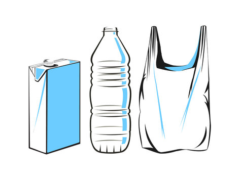 Vector drawing of a plastic carton, bottle and bag