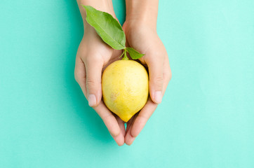 Fresh lemon hold by hand on green pastel background
