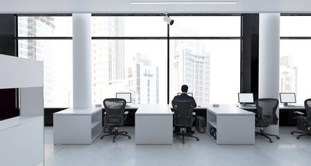 Ufficio con computer, sala progettazione