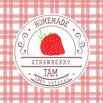 Jam label design template. for strawberry dessert product with hand drawn sketched fruit and background. Doodle vector strawberry illustration brand identity